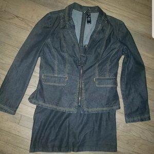 Bissou Bissou Denim Two Piece Jacket Skirt Set